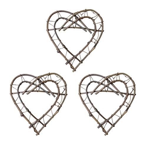 SUPVOX Coeur Forme Grapevine Guirlande DIY Artisanat pour Porte Guirlande Partie Home Decor 3pcs