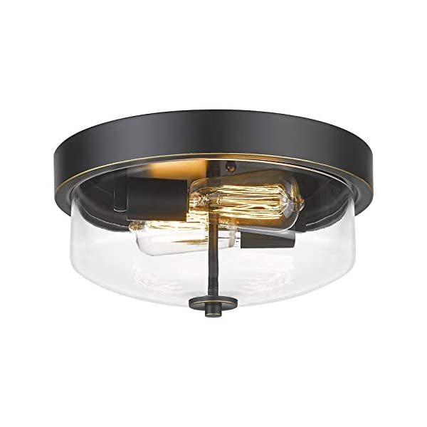 Emliviar Ceiling Light Fixture with Clear Glass Shade – Indoor Outdoor Flush Mount Ceiling Light 12 Inch, Black Finish…
