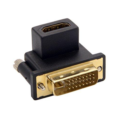 Xiwai Adaptador DVI macho a HDMI hembra de 90 grados para ordenador y HDTV y tarjeta gráfica