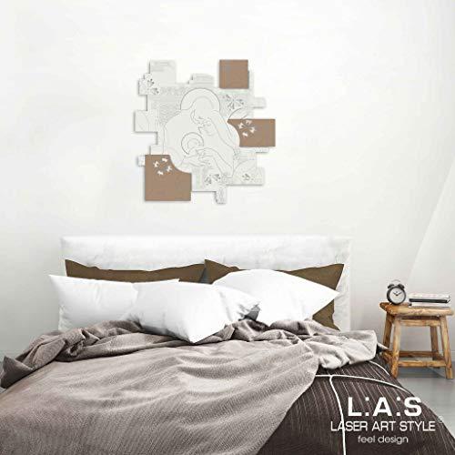 L:A:S Laser Art Style Quadro Capezzale Sacra Famiglia Moderno per Camera da  Letto, Legno, Panna-Nocciola, 68x70 cm