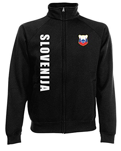AkyTEX Slowenien Slowenija EM-2020 Sweatjacke Wunschname Nummer Schwarz L