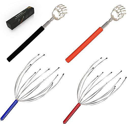 KissDate - Juego de 4 rascadores telescópicos para la espalda y masajeadores de cabeza del cuero cabelludo