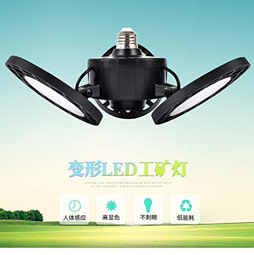 Led-garagelamp, 60 W, 8000 lumen, vervormbare drievoudig verlichte garagelamp met 3 instelbare led-panelen, plafondlamp E26/E27/B22 LED-lamp voor garagekelder en binnenplaats