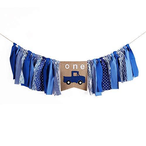 QIYNAO Handmade Blue Car One Banner - First Baby Birthday Decorations Burlap Highchair Banner