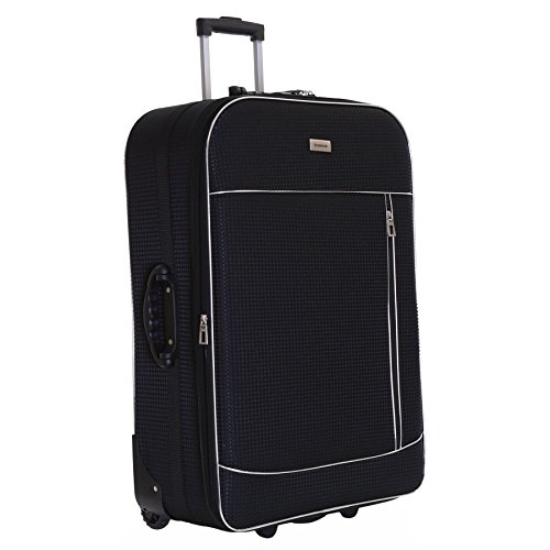 Slimbridge Extra Large Hold Luggage Suitcase Trolley Bag Expandable and Lightweight XL 77 cm 3.5 kg 100 litres with 2 Wheels & Integrated Number Lock, Rennes Black
