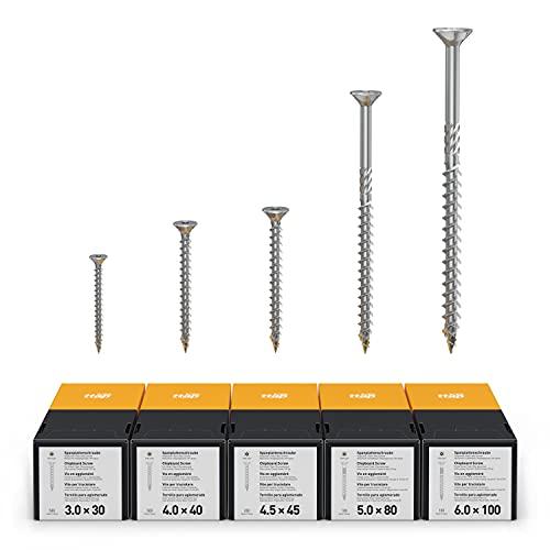 TORX ttap 72625 Tornillo para aglomerado Set 1400 Piezas (3.0 × 30mm, 4.0 × 40mm, 4.5 × 45mm, 5.0 × 80mm, 6.0 × 100mm) – Das Original
