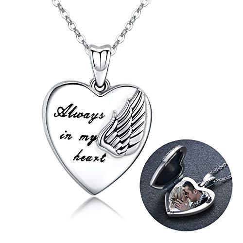 Collana in argento Sterling con medaglione a forma di cuore e ali d'angelo custode, regalo per donne e ragazze, con medaglione portafoto (Collane-1)