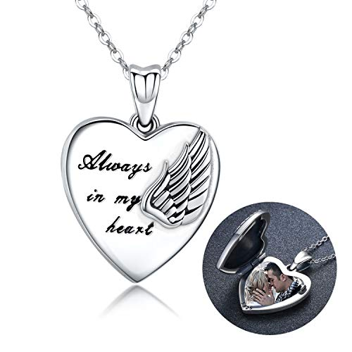 Sterling Silver Locket Necklace That Holds Pictures Guardian Angel Wings Heart Locket Pendant Gift for Women Girl Always in My Heart Photo Lockets Keepsake Gift(Locket Necklace)