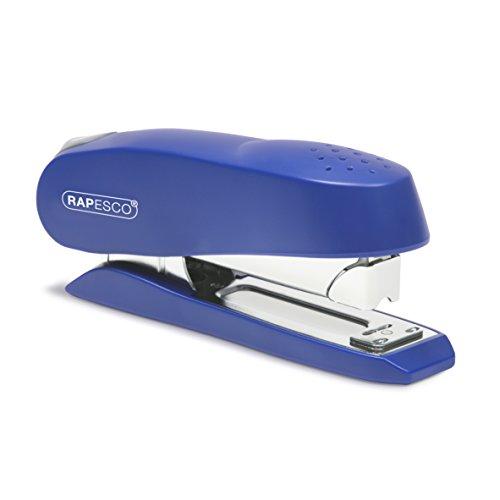 Rapesco Stapler, Luna Heavy Duty Half Strip Stapler, 50 Sheet Capacity, Blue