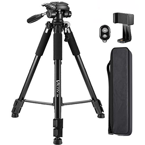 64-inch Tripod, Ultra Stable Aluminum Tripod Stand for Camera & Cell Phone with Phone Tripod Mount and Remote Shutter, Ideal for Videos, Vlogs and Social Media Live - Black