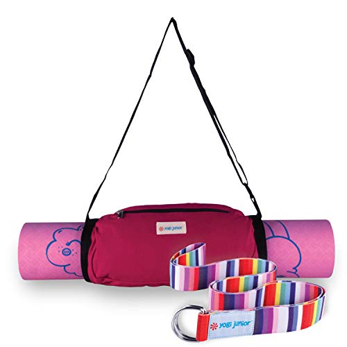 Yogi Junior Esterilla de yoga para niños, sin PVC, espuma de TPE de doble capa (kit de 3 piezas)