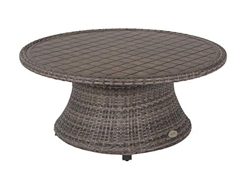 Captiva Isle Outdoor 45-inch Round Laser Cut Aluminum Coffee Table with Woven Wicker Rim and Base