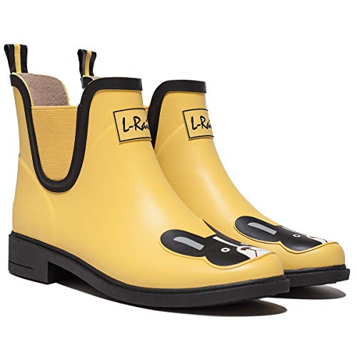 L-Rain LR Women's Short Rain Boots Waterproof and Anti-Slipping Rain Shoes Chelsea Booties-Yellow Boston Terrier-Size 9