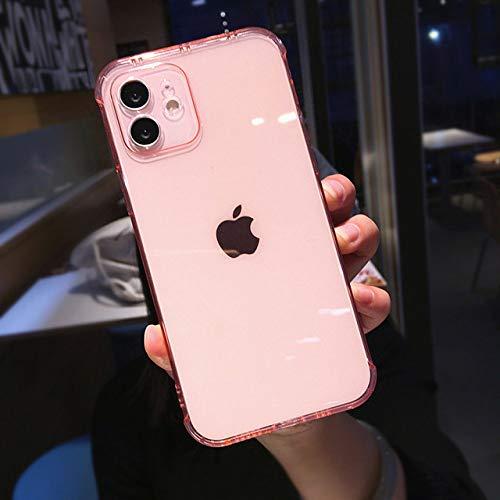 Estuche transparente para teléfono a prueba de golpes para iPhone 12 11 11Pro Max Xr Xs Max Estuche transparente para teléfono suave de TPU para iPhone Xr Xs Max 6 7 8 Plus, B, rosa, para iphone 11