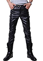 leather look pants for men black