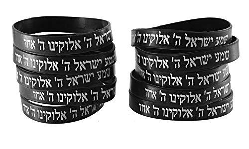 10 Bracelets NOIR CHEMA ISRAËL – Kabbale juive hébraïque bandes caoutchouc