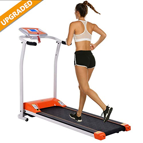 Aceshin Electric Folding Treadmill Power Motorized Walking Jogging Running Machine Cardio Fitness Exercise Equipment Space Saving for Home Gym Easy Assembly (Orange) Treadmills