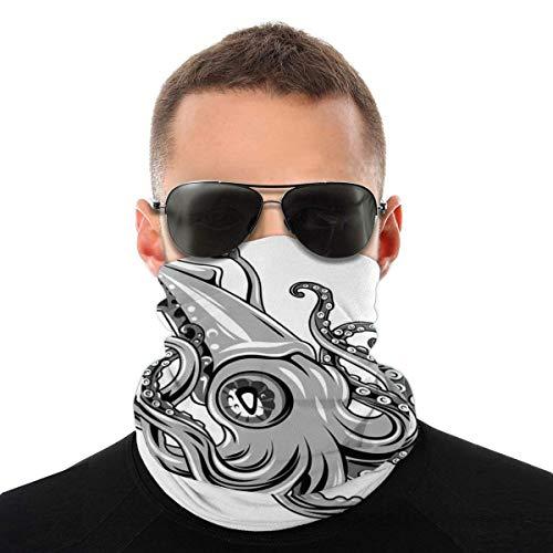 Lsjuee Half Bandanas Variedad Pañuelo para la cabeza Cuello cálido Bufanda de polaina Pez calamar con aletas...