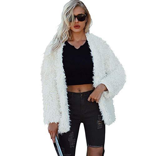 Kiss Me Damen Zotteljacke, Kunstfell, einfarbig, langärmelig, kurz, flauschig, Mantel Gr. XXL, gebrochenes weiß