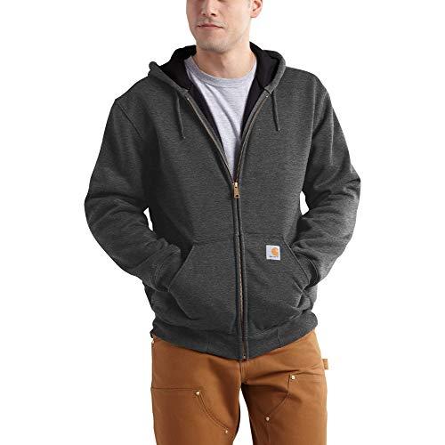 Carhartt Mens Rutland Thermal-Lined Zip-Front Sweatshirt, Carbon Heather/Black, L