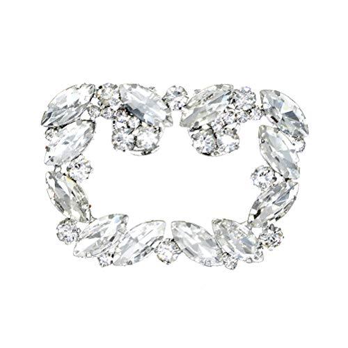 VALICLUD Hebilla de zapatos de cristal con estrás, para manualidades, decoración de zapatos, accesorios para bodas, novias, mujeres (plata)