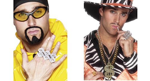 Dollar Sign Rapper Ali G Ring and Medallion Gangster Pimp Adult Fancy Dress Accessory Kit
