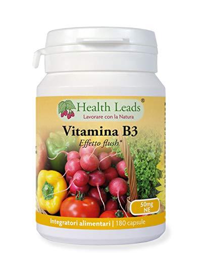 """Vitamina B3 niacina/acido nicotinico (con effetto """"flush"""") 50mg 180 capsule, SCORTA DI 6 MESI, Senza magnesio stearato o altri additivi dannosi, Prodotto in Galles"""