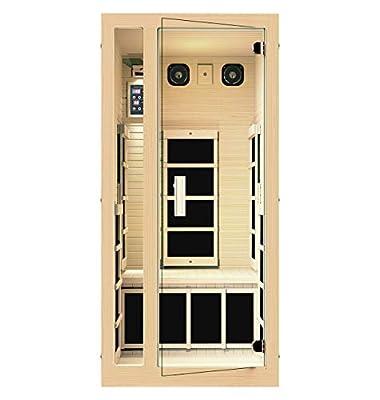 JNH Lifestyles Joyous 1 Person Far Infrared Sauna 6 Carbon Fiber Heaters, 5 Year Warranty