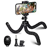 PHOPIK Mini Phone Tripod Stand: Portable and Flexible Octopus Smartphone Tripod-with Universal Holder and Bluetooth Remote Compatible with iPhone/Android/Camera/GoPro