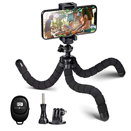 Phone Tripod, PHOPIK Portable and Adjustable Camera Stand Holder with Wireless Remote and Universal Clip, Compatible with iPhone, Android Phone, Sports Camera GoPro