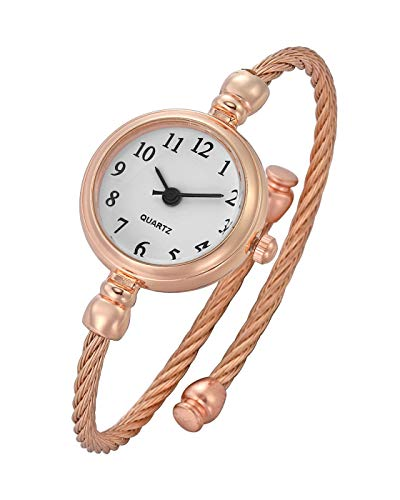 Top Plaza Womens Fashion Analog Quartz Bangle Cuff Wrist Bracelet Watch Elegant Stainless Steel Wire Band Arabic Numerals Dress Watches 6.8 Inches - Rose Gold Tone White Dial