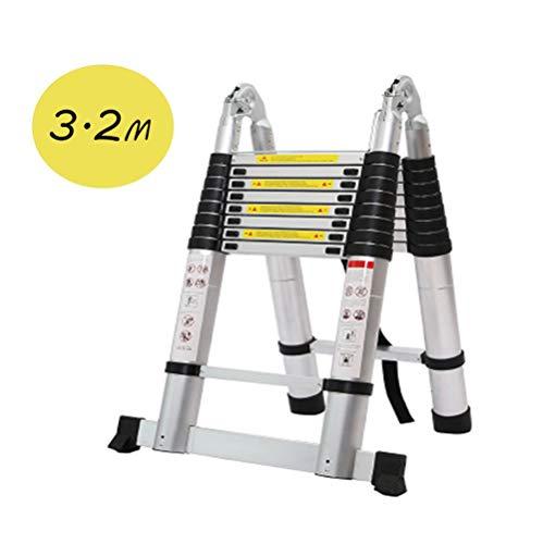 NOOYC Extension Ladder, 1.6+1.6M Telescopische Stap Ladder Veilige Beschermende Schakelaar Vouwladder Draagbare Duurzame Trap Ladder Aluminium Multi-Use Ladder