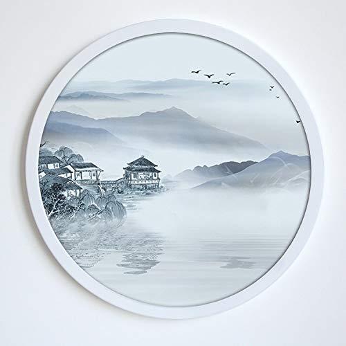 MYYXGS Hängende Malerei im chinesischen Stil kreisförmige dekorative Malerei Landschaftsmalerei Hängender Rahmen Hängende Malerei im chinesischen Stil Schlafzimmer Wohnzimmer hängende Malerei