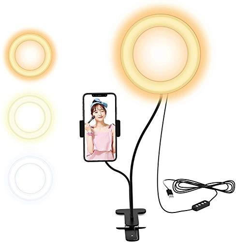 Selvim 2in1 進化版6インチ 外径16センチ リングライト 電気スタンド クリップ式 ビデオ通話用 自撮りスタンド 補光 自撮りLEDライト 美白効果 スマホスタント付き 360度回転可能 10階段調光