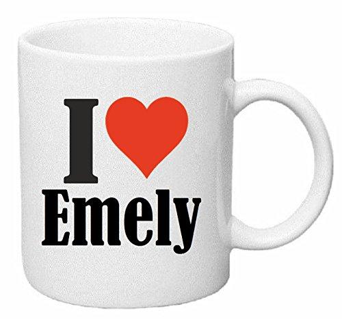 Reifen-Markt Kaffeetasse I Love Emely Keramik Höhe 9,5cm ? 8cm in Weiß