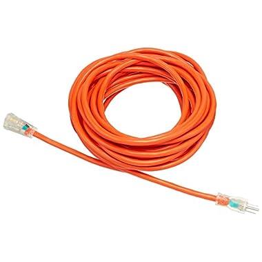 AmazonBasics 12/3 SJTW Heavy-Duty Lighted Extension Cord - 50 Feet (Orange)