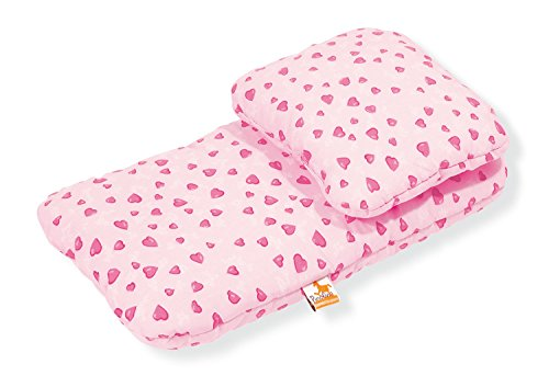 Pinolino Puppenbettzeug für Puppenwagen Herzchen, 2-tlg., mit Kopfkissen und Bettdecke, waschbar, Bezug 100 % Baumwolle, für Mädchen ab 1 J., rosa