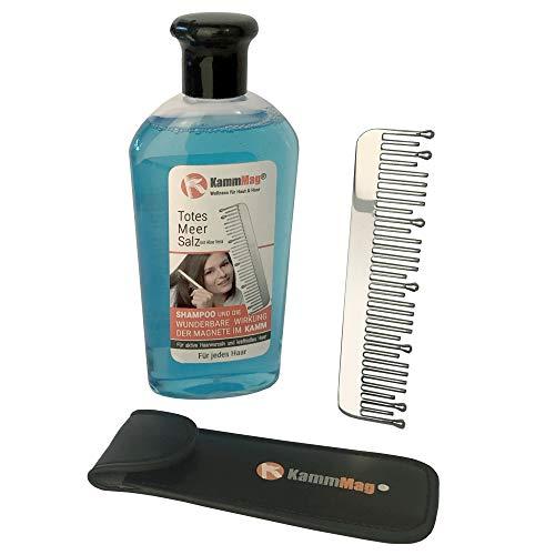 KammMag® Magneetkam met de fantastisch magneetkracht van 0,1 Tesla en Dode Zee zout shampoo de nieuwe wellness-innovatie voor minder roos haaruitval jeuk gezonde hoofdhuid vol haar