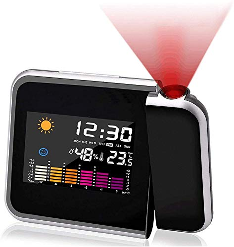 Mmester Projection Alarm Clock, color screen calendar,Personal Weather Station for Bedroom, Projector Dimmable Clock Dual Alarms LCD Display Date Time Temperature Humidity.