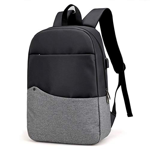 KKCD Fashion Canvas Mannen Anti Diefstal Rugzak USB Opladen 15 Inch Laptop Notebook Rugzak Voor Vrouwen Waterdichte Reisrugzak Tas, Donkergrijs