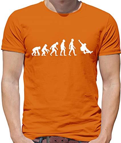Evolution of Man Skateboarding - Mens Premium Cotton T-Shirt - Orange - 4XL