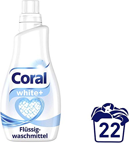 Coral Waschmittel flüssig für strahlend weiße Wäsche – 22 Waschladungen hygienisch reine Wäsche, extra stark gegen Flecken – White Shine Flüssigwaschmittel ( 1 x 1,1 L)