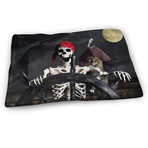 """Custom Dog Bed Mat,Captain Cat Pirate Ship Skull Skeleton Controlling The Helm,Anti-Slip Bottom Washable Soft Crate Pad Mat for Pets Sleeping 23""""x15.5"""""""