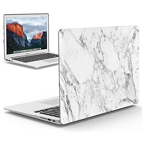 IBENZER MacBook Pro 13 Inch Case 2012-2015, Soft Touch Hard Case Shell Cover for Apple MacBook Pro 13 with Retina Display A1425 1502, White Marble, MMP13R-01WHMB
