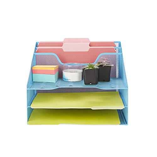 Mind Reader MESHBOX5-BLU Mesh Organizer 5 Desktop Document Letter Tray for Folders, Mail, Stationary, Desk Accessories, Blue