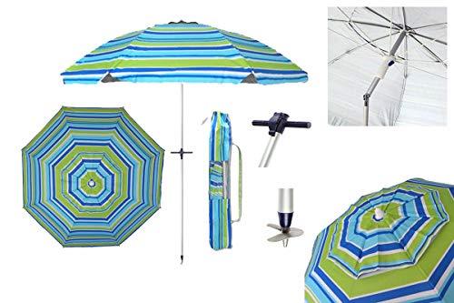 Sombrilla ALTEA TUBO 25mm playa/jardín 2m Aluminio UPF+50 99% UV+ Pincho con Punta de Aluminio Reforzado 8 varillas