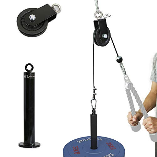 SYL Fitness LAT Cable Pulley System with Loading Pin DIY Home Garage Gym Cable Crossover Tricep Pulldown Attachment (Pulley System for Olympic Weight Plates)