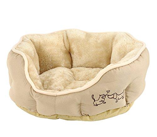Dehner Hunde- und Katzenbett Sammy, oval, ca. 57 x 52 x 14 cm, Polyester, beige