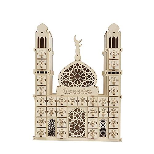 FANSI Ramadan Adventskalender Eid Mubarak Dekoration Holz Countdown Schublade Für Muslim Festival DIY (Ramadan)