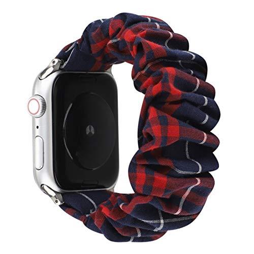 Desqueena Reloj Serie 6 & SE & 5 & 4 44mm / 3 & 2 & 1 42mm Tela + Reloj de Reloj de Pelo de Acero Inoxidable para Apple, StarLightd (Color : Red Blue Grid)